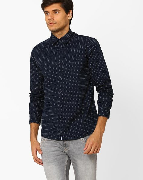 Printed Cotton Shirt By Pepe Jeans ( Navy )