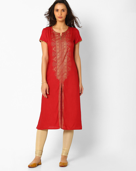 Straight Kurta With Printed Panel By FUSION ( Red )