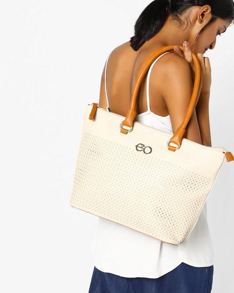 Laser-Cut Tote Bag By E2O ( Beige )