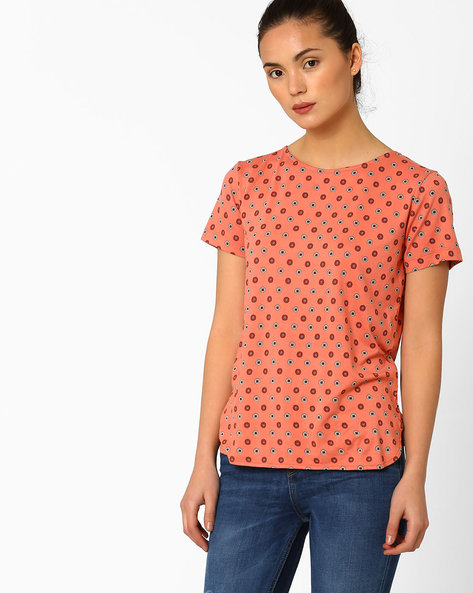 Floral Print T-shirt With Curved Hemline By Marks & Spencer ( Coral )