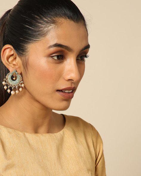 Enamel Pearl Stone Earrings By Spargz ( Blue ) - 460146226001