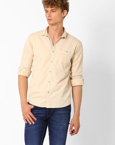 Slim Fit Cotton Shirt By SIN ( Beige ) - 460027315003