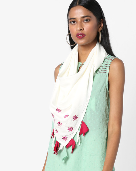 Dupatta With Placement Embroidery By AJIO ( Offwhite )