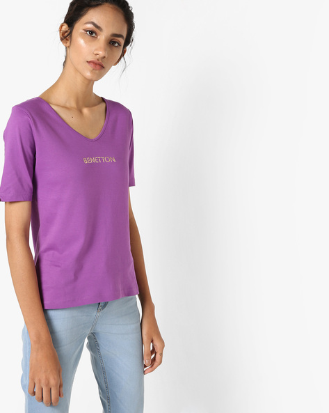 Cotton T-shirt With Printed Branding By UNITED COLORS OF BENETTON ( Purple )
