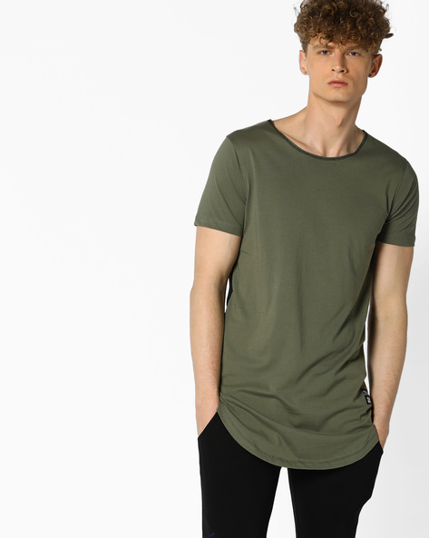 Longline T-shirt With Scoop Neck By KULTPRIT ( Green )