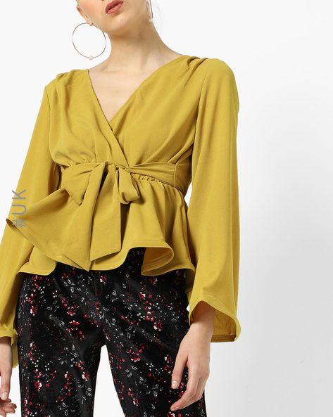 Peplum Top With Waist Tie-Ups By OEUVRE ( Yellow )