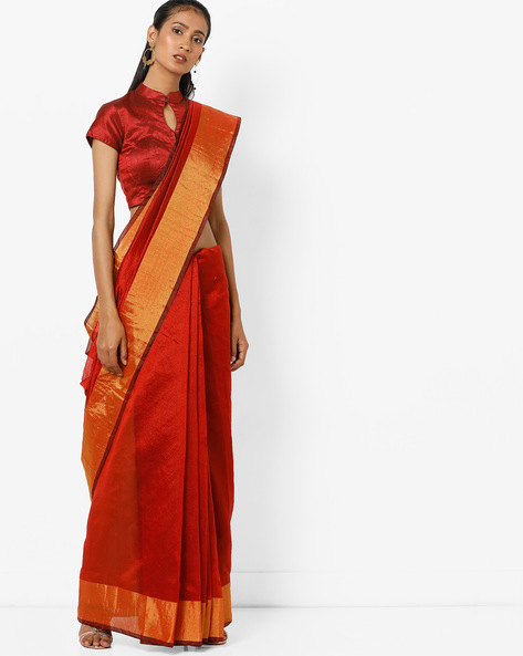Saree With Contrast Border By Florence ( Red )