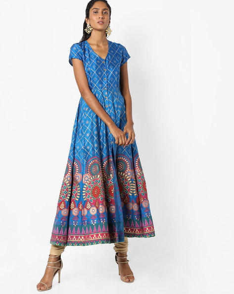 Printed A-line Kurta With Front-Slit Hem By Global Desi ( Ink )