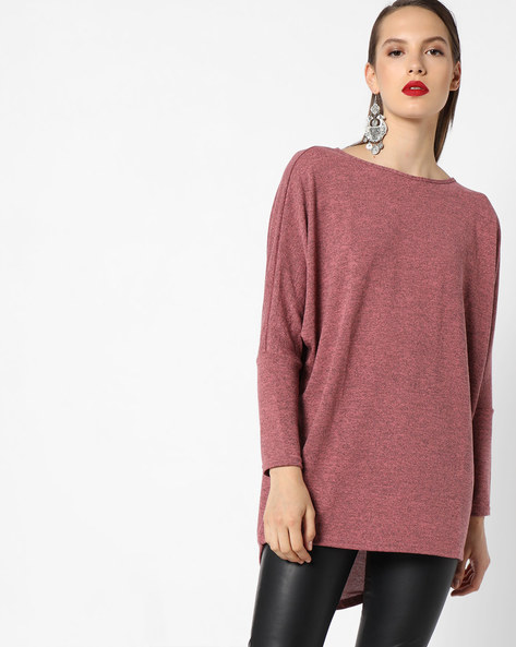 Heathered Top With High-Low Hem By INFLUENCE ( Pink )