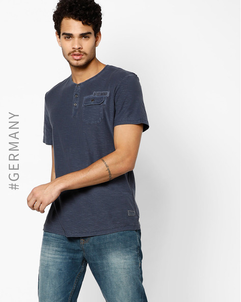 Henley T-shirt With Flap Pocket By Tom Tailor ( Blue ) - 460095300002