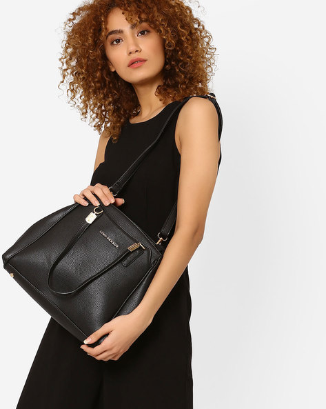 Textured Shoulder Bag By Lino Perros ( Black )