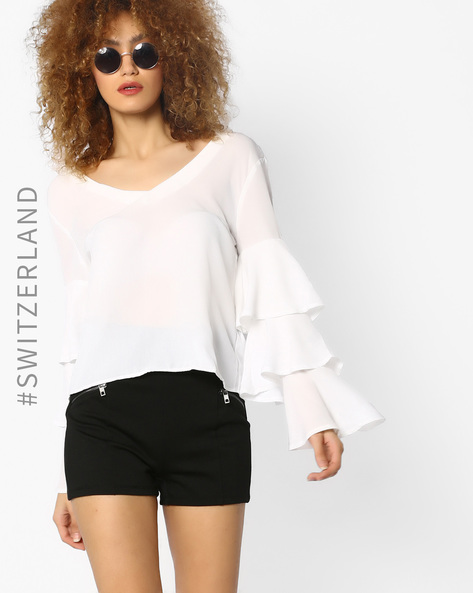 V-neck Top With Ruffled Bell Sleeves By TALLY WEiJL ( Offwhite )