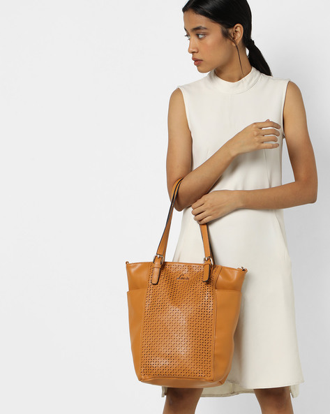 Salyut Tote Bag With Laser Cut-Outs By Lavie ( Yellow )