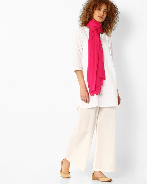 Dupatta With Embellished Detail By Melange By Lifestyle ( Fuschia )