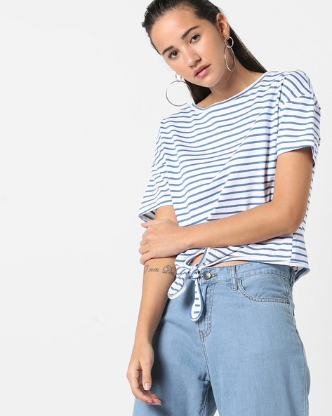 Striped T-shirt With Tie-Up By AJIO ( Blue )