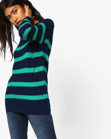 Striped Pullover With Ribbed Hems By Fame Forever By Lifestyle ( Navy )