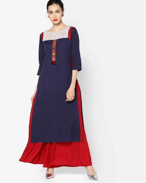 Straight Kurta With Contrast Taping By Rangmanch By Pantaloons ( Blue )