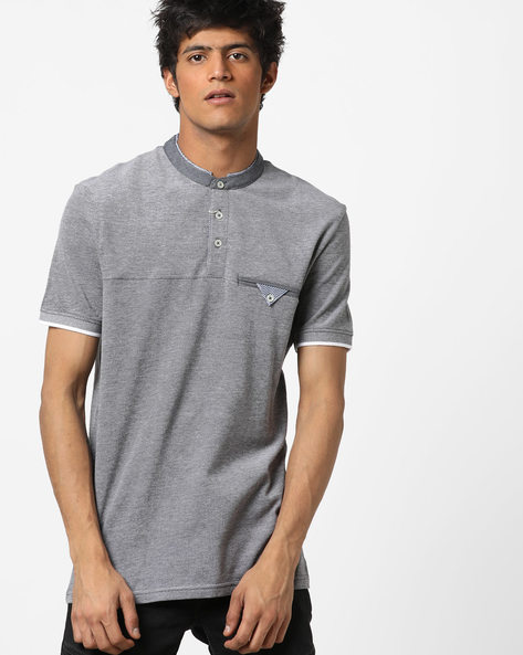 Slim Fit T-shirt With Contrast Collar By Celio ( Lightgrey )