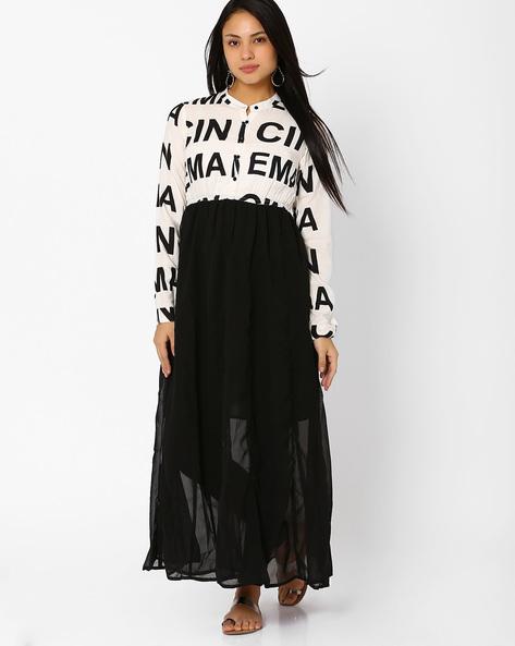 Printed Maxi Dress By Akkriti By Pantaloons ( Black )