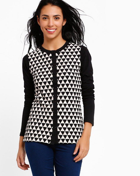 Cardigan With Geometric Print By Style Quotient By Noi ( Black )