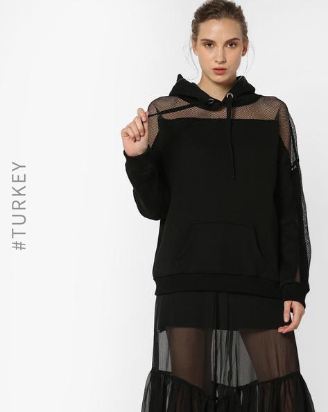 Hooded Sweatshirt With Net Yoke & Sleeves By TRENDYOL ( Black )