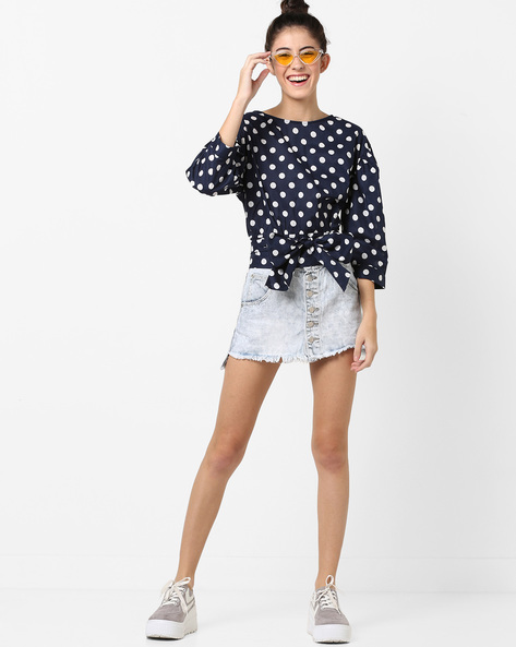 Polka-Dot Top With Tie-Up By AJIO ( Navy )
