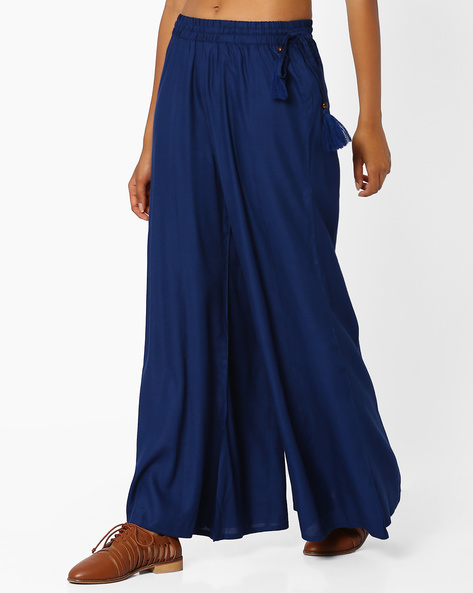 Palazzo Pants With Tassel Tie-Up By Khimsariya ( Navyblue )