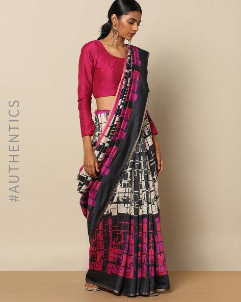 Pure Silk Tussar Abstract Print Designer Saree By Rudrakaashe-MSU ( Black )