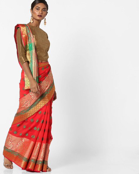 Woven Jacquard Saree With Contrast Zari Border By Era ( Red )