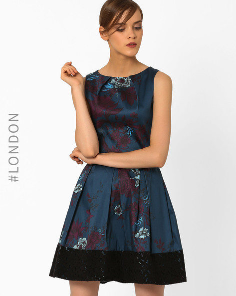 Floral Print Fit & Flare Dress By Closet London ( Teal )