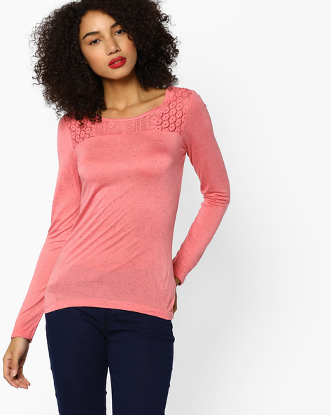Classic Top With Lace Yoke By BOSSINI ( Pink )