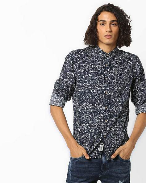 Printed Shirt With Button-Down Collar By FLYING MACHINE ( Blue )