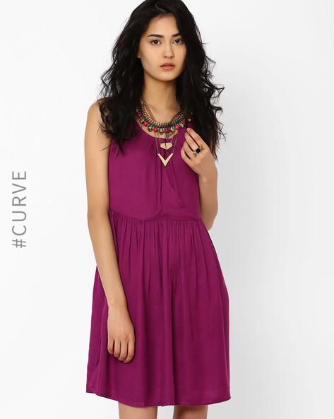 Fit & Flare Dress By AJIO ( Purple )