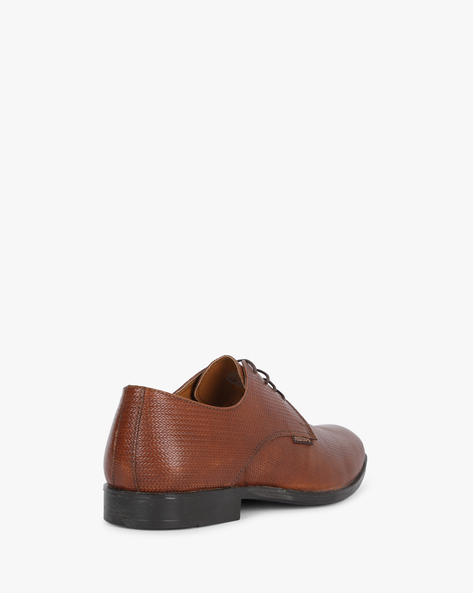 Textured Genuine Leather Formal Shoes By RED TAPE ( Brown )