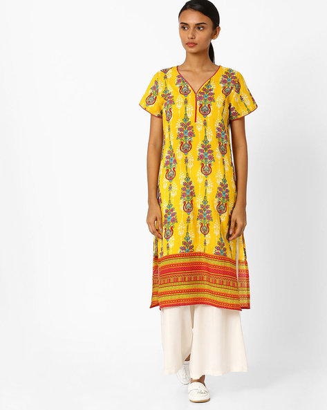 Floral Print Straight Kurta By Jiyaa ( Yellow )