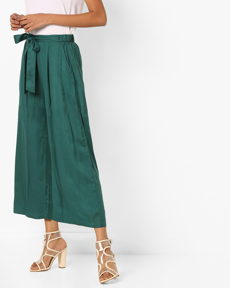 Mid-Rise Palazzos With Drawstring Waist By Bitterlime ( Green )
