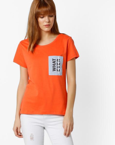 Step Hem T-shirt With Printed Pocket By RIO ( Orange )