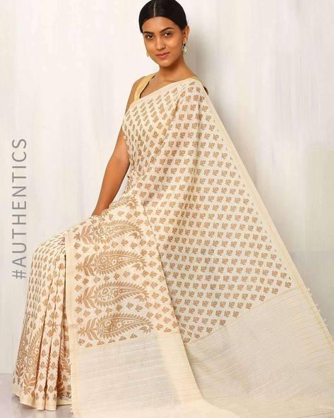 Printed Cotton Silk Saree With Ghicha Pallu By Rudrakaashe-MSU ( Multi ) - 460011267001