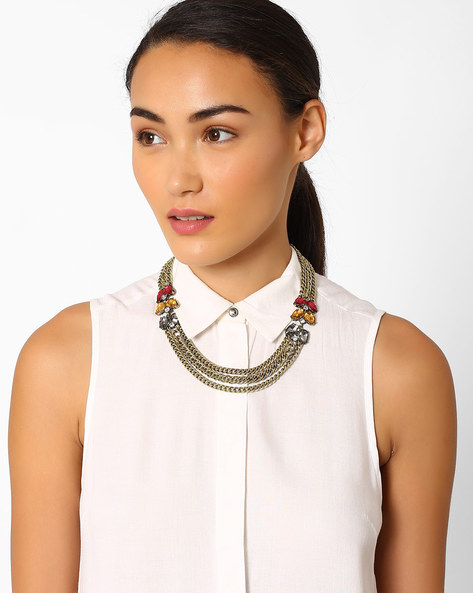 Layered Necklace With Crystals By Pipa Bella ( Multi )