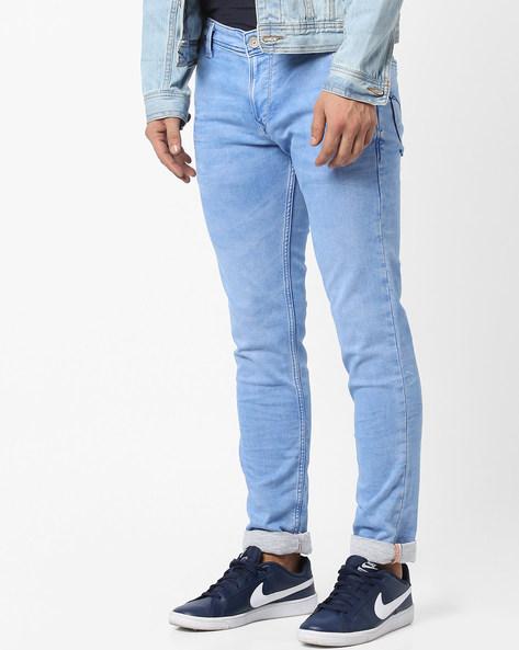 Spiral Lightly Washed Slim Fit Jeans By Killer ( Indigo )