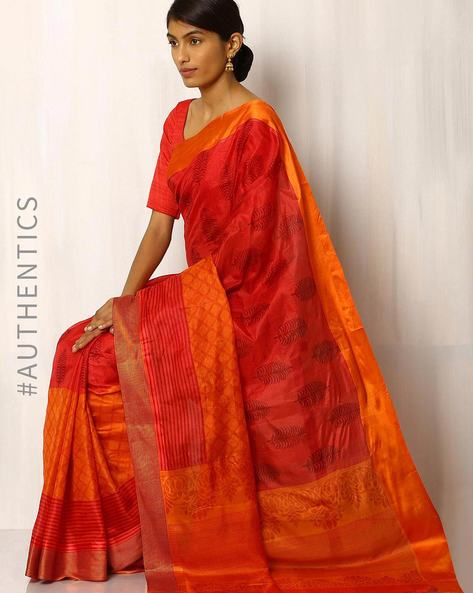 Half & Half Printed Pure Silk Saree By Rudrakaashe-MSU ( Red )