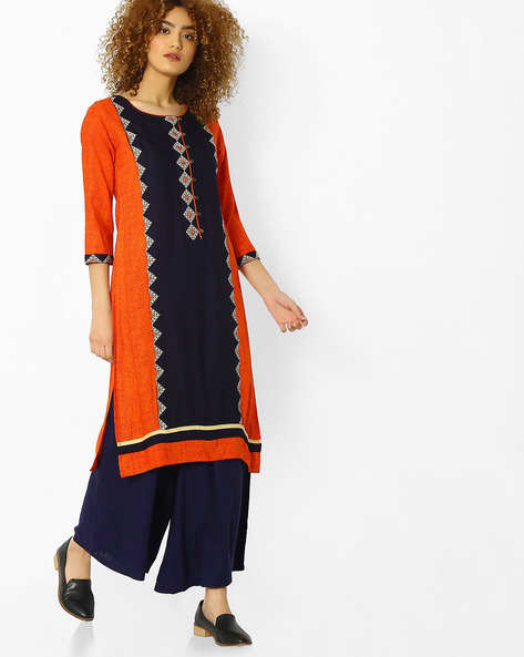 Printed Straight Kurta With Embroidery By Kifahari ( Orange )
