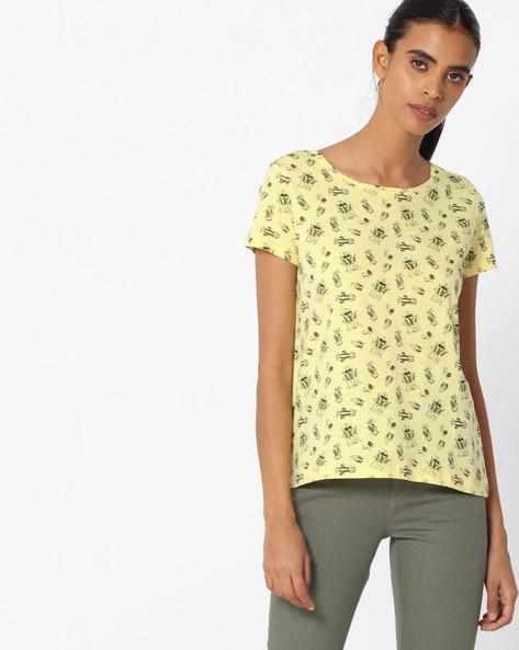 Graphic Print Crew-Neck T-shirt By AJIO ( Yellow ) - 460104491009