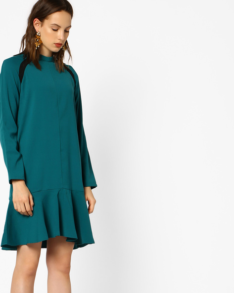 Panelled Shift Dress With Flounce Hem By AJIO ( Green )