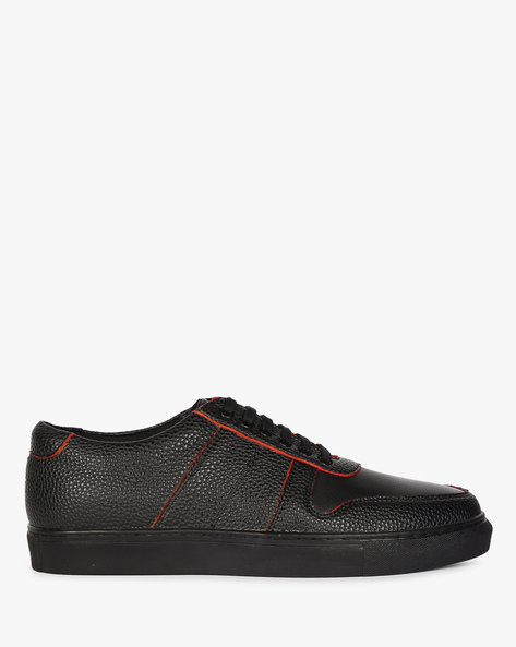 Textured Sneakers With Perforated Upper By Funk ( Black )