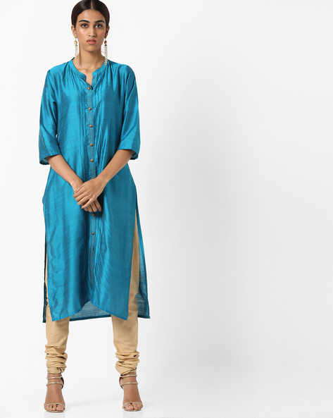 Collared Straight Kurta With Insert Pockets By Shree ( Turquoise )