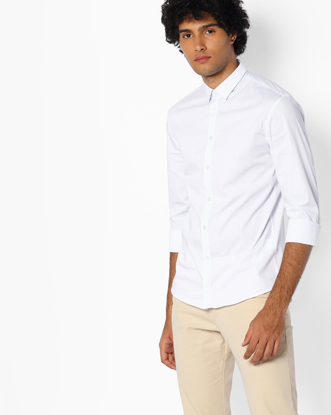 Cotton Shirt With Spread Collar By Celio ( White )