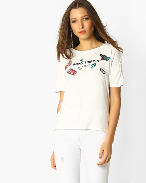 Typographic Print Top With Drop-Shoulder Sleeves By RIO ( White )