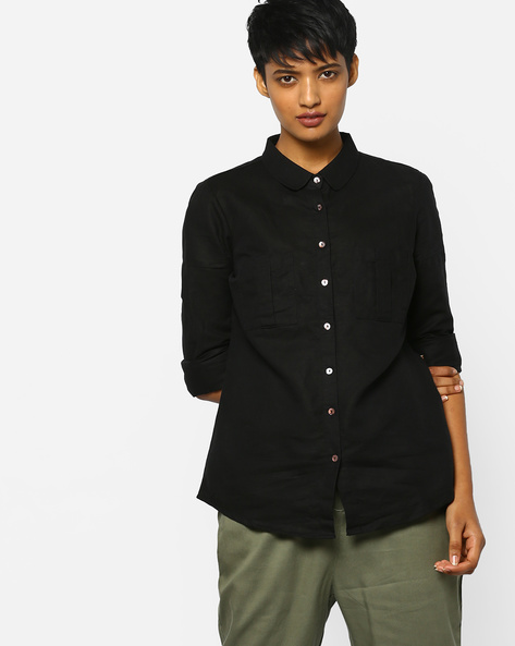 Shirt With Patch Pockets By Project Eve WW Casual ( Black )