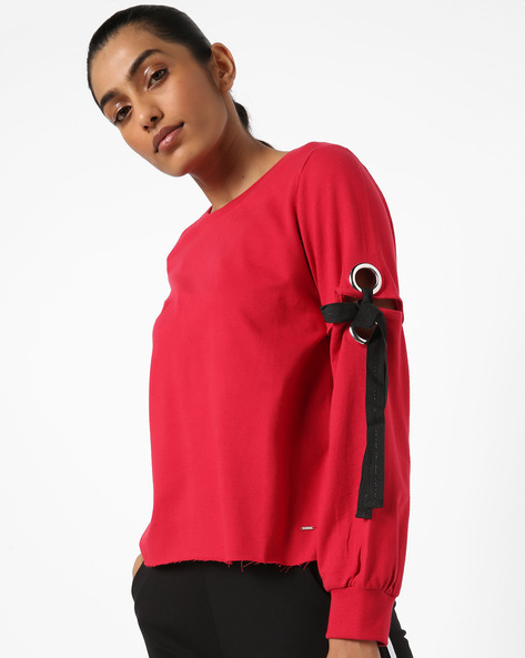 Crew-Neck Sweater With Tie-Ups By Only ( Red )